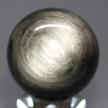 [メキシコ産]シルバーゴールドオブシディアン丸玉 /黒曜石スフィア(49.0mm)