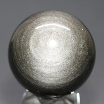 [メキシコ産]シルバーゴールドオブシディアン丸玉 /黒曜石スフィア(49.4mm)