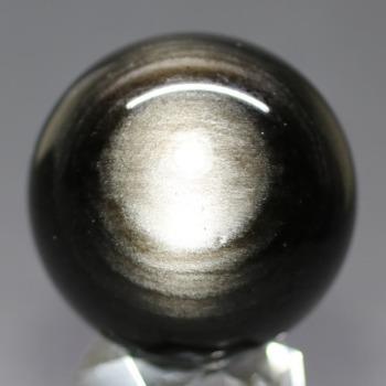[メキシコ産]シルバーゴールドオブシディアン丸玉 /黒曜石スフィア(49.3mm)