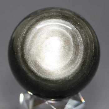 [メキシコ産]シルバーゴールドオブシディアン丸玉 /黒曜石スフィア(49.5mm)