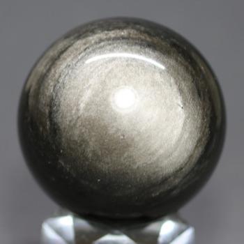 [メキシコ産]シルバーゴールドオブシディアン丸玉 /黒曜石スフィア(49.6mm)