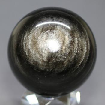 [メキシコ産]シルバーゴールドオブシディアン丸玉 /黒曜石スフィア(53.9mm)