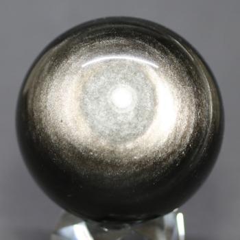 [メキシコ産]シルバーゴールドオブシディアン丸玉 /黒曜石スフィア(54.3mm)