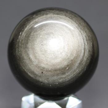 [メキシコ産]シルバーゴールドオブシディアン丸玉 /黒曜石スフィア(54.5mm)