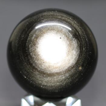[メキシコ産]シルバーゴールドオブシディアン丸玉 /黒曜石スフィア(55.2mm)