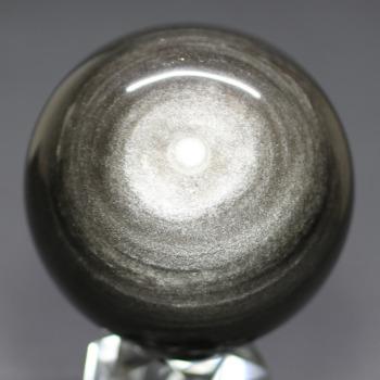 [メキシコ産]シルバーゴールドオブシディアン丸玉 /黒曜石スフィア(62.4mm)