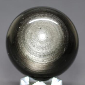 [メキシコ産]シルバーゴールドオブシディアン丸玉 /黒曜石スフィア(62.7mm)