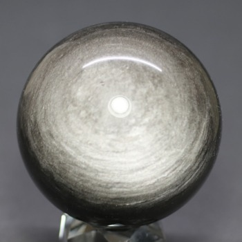 [メキシコ産]シルバーゴールドオブシディアン丸玉 /黒曜石スフィア(63.8mm)