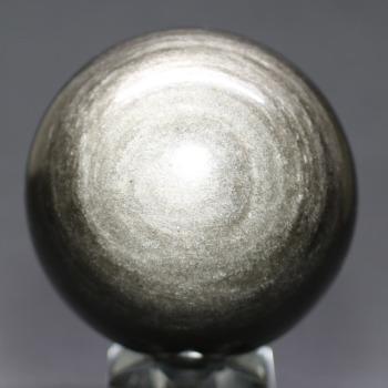 [メキシコ産]シルバーゴールドオブシディアン丸玉 /黒曜石スフィア(64.1mm)
