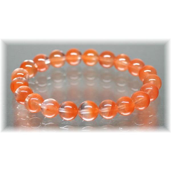 高品質オレンジアンフィボールインクォーツ約9ミリ玉ブレスレット(ORANGEAMPHIBOLE-0902IS)