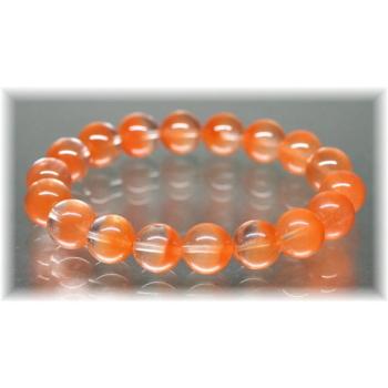 高品質オレンジアンフィボールインクォーツ約11ミリ玉ブレスレット(ORANGEAMPHIBOLE-1101IS)