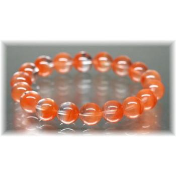 高品質オレンジアンフィボールインクォーツ約11ミリ玉ブレスレット(ORANGEAMPHIBOLE-1102IS)