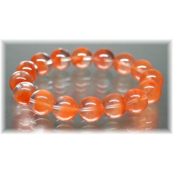 高品質オレンジアンフィボールインクォーツ約13ミリ玉ブレスレット(ORANGEAMPHIBOLE-1301IS)