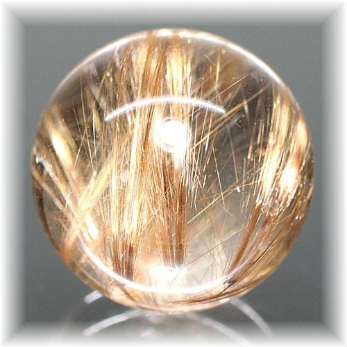ブラジル産オレンジゴールドルチルクォーツスフィア 台座付属(ORANGEGOLD-SPHERE273IS)