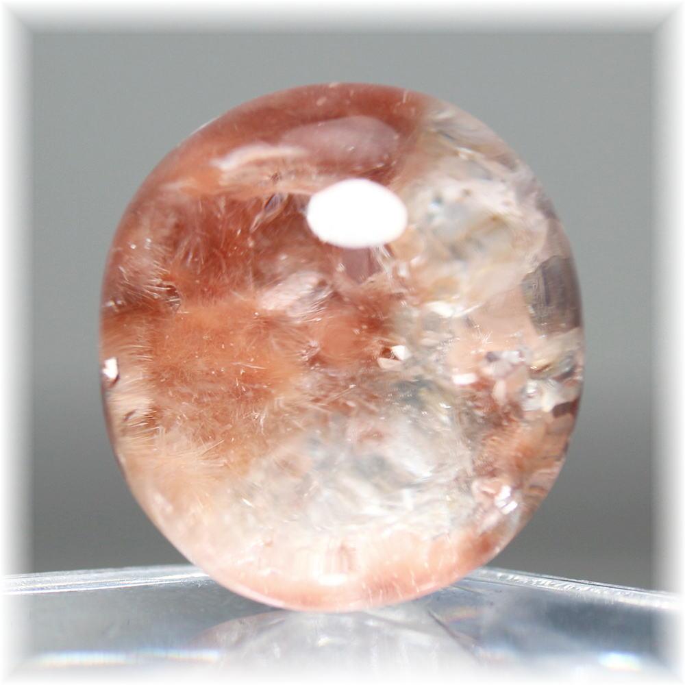 ブラジル産 オレンジピンクデュモルチェライトインクォーツ ルース (PinkDumortieriteInQuartz-LS023IS)