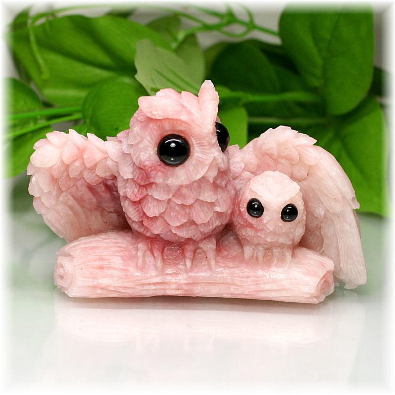 [高品質]ピンクタルク フクロウ 彫刻品