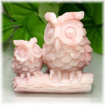 [高品質]ピンクタルク フクロウ 彫刻品(Ptalc-OW399IS)