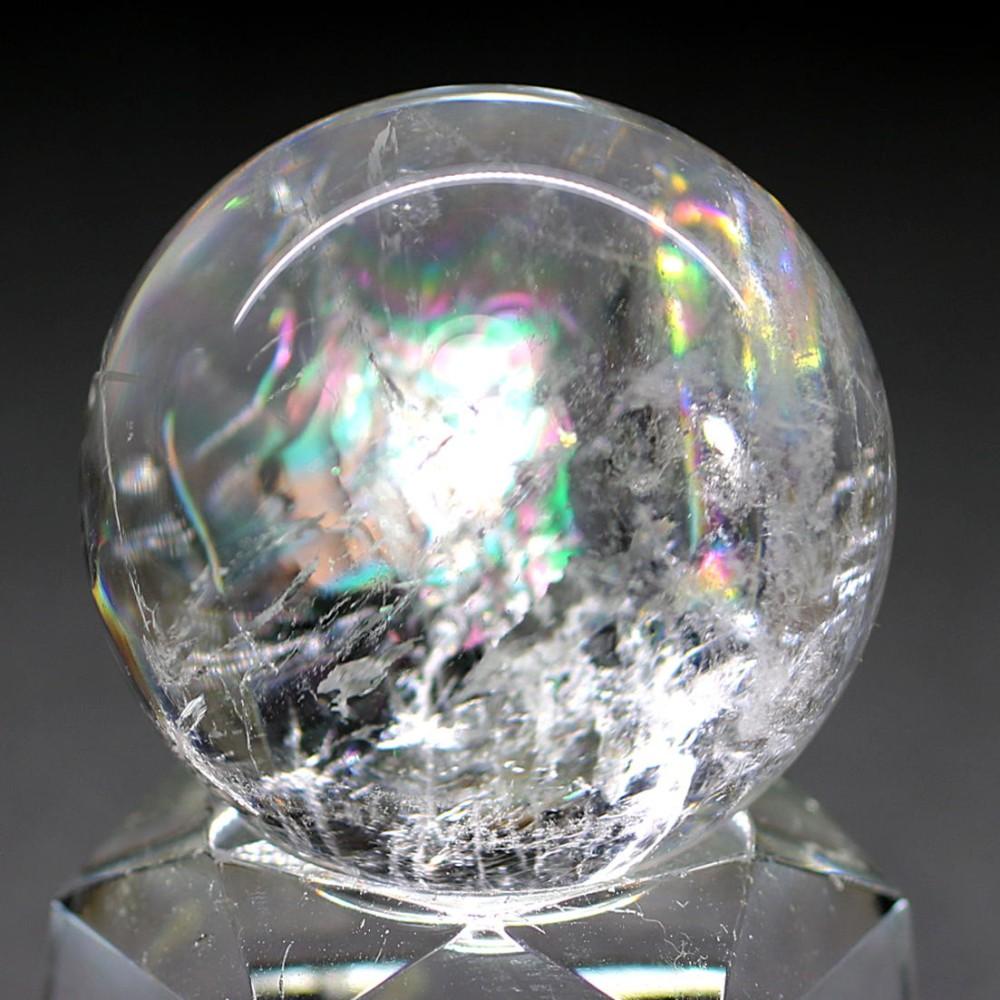 [高品質]レインボー水晶玉/アイリスクォーツスフィア(丸玉直径33.7mm)