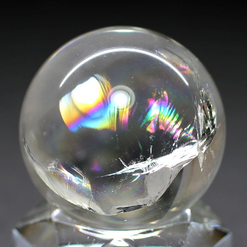 [高品質]レインボー水晶玉/アイリスクォーツスフィア(丸玉直径33.3mm)