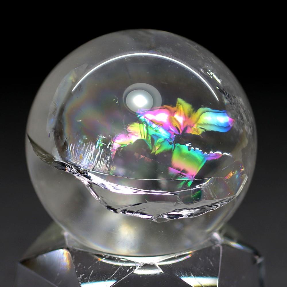 [高品質]レインボー水晶玉/アイリスクォーツスフィア(丸玉直径32.7mm)