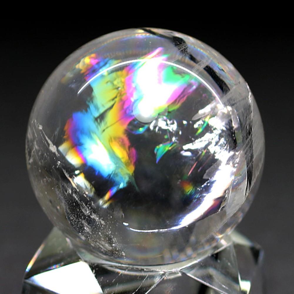 [高品質]レインボー水晶玉/アイリスクォーツスフィア(丸玉直径33.1mm)
