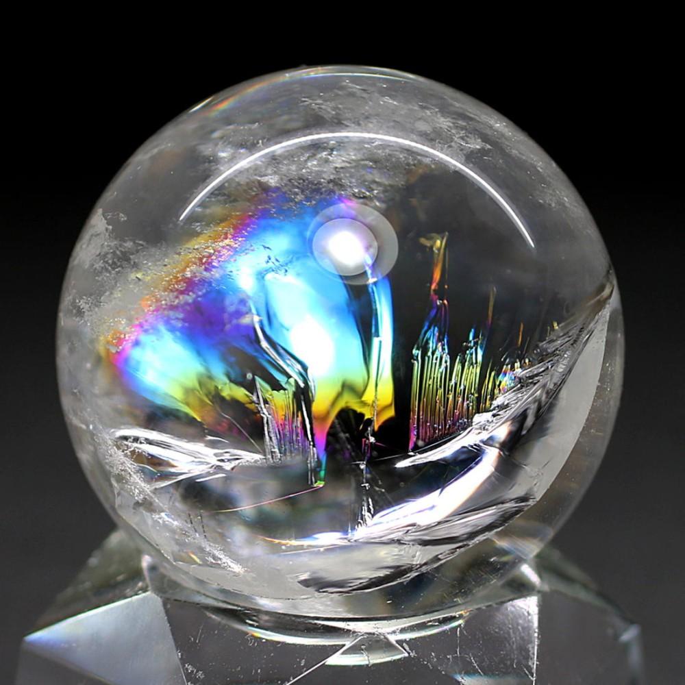 [高品質]レインボー水晶玉/アイリスクォーツスフィア(丸玉直径32.0mm)