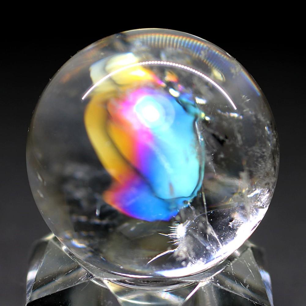 [高品質]レインボー水晶玉/アイリスクォーツスフィア(丸玉直径31.8mm)