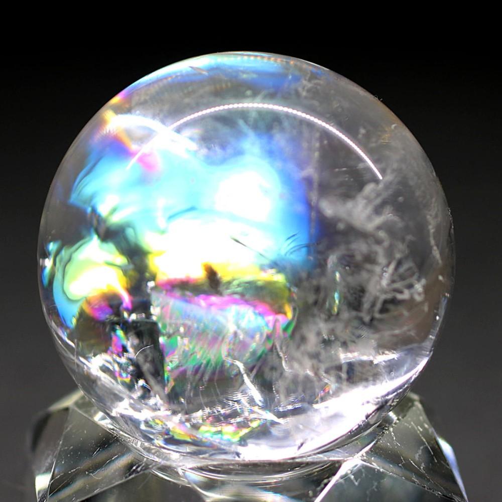 [高品質]レインボー水晶玉/アイリスクォーツスフィア(丸玉直径30.3mm)