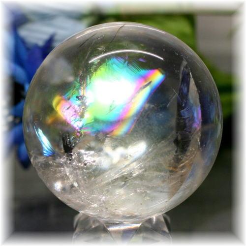 ブラジル産虹入り天然水晶丸玉(RAINBOWinQUARTZ-115IS)