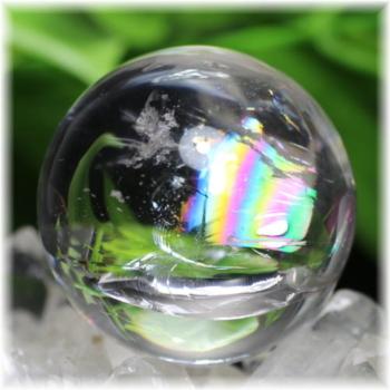 最高品質虹入り天然水晶丸玉 台座付属(RAINBOWinQUARTZ-465mIS)