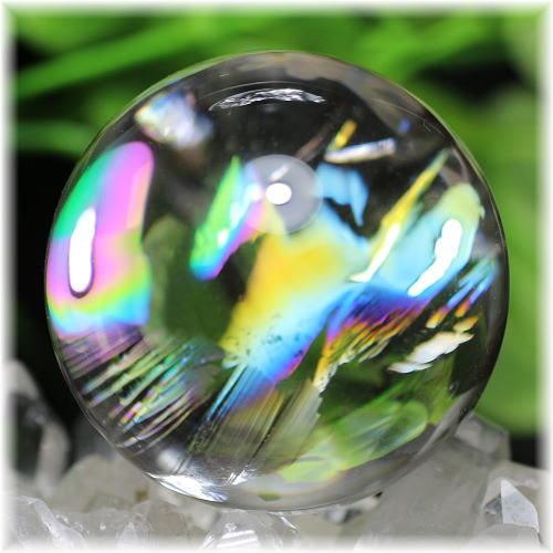 最高品質虹入り天然水晶丸玉 台座付属(RAINBOWinQUARTZ-53mIS)