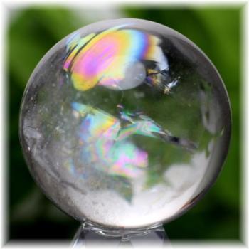 [高品質]虹入り天然水晶丸玉[直径46.5㎜](RAINBOWinQUARTZ-910IS)
