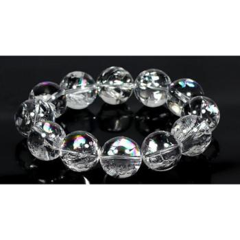 [3A++]ブラジル産天然レインボー水晶ブレスレット/アイリスクォーツ(約18mm玉)