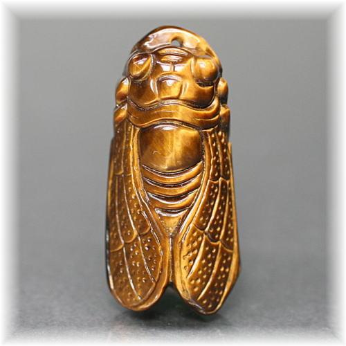 タイガーアイ 彫刻品 セミ(TIGER'SEYE-SEMI001IS)