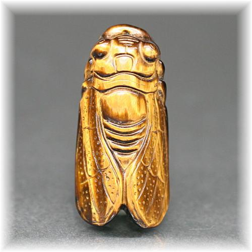 タイガーアイ 彫刻品 セミ(TIGERSEYE-SEMI002IS)