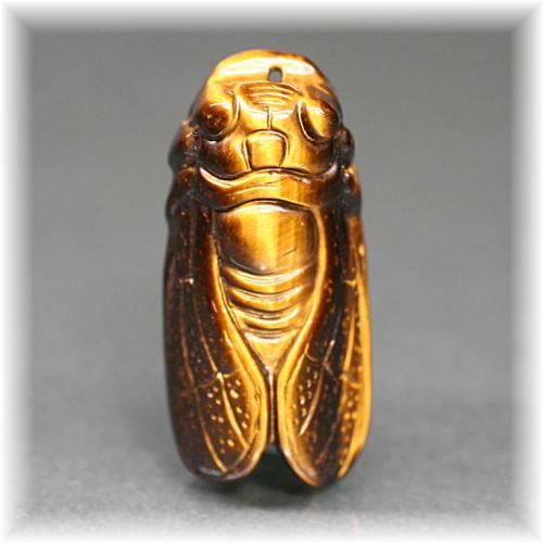 タイガーアイ 彫刻品 セミ(TIGERSEYE-SEMI005IS)