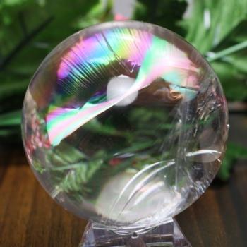 [トップクォリティ]レインボー水晶 丸玉 台座付属(RainbowCrystal-tp0530is)