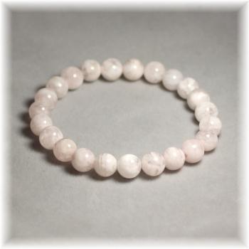 ホワイトセリサイトインローズクォーツ8ミリ玉ブレスレット(WHITESERICITE-ROZE-0801IS)